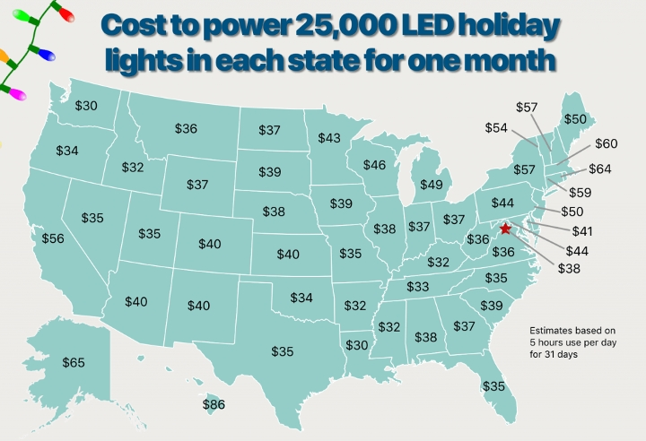 Holiday Lights Map LED United States gogreenlightenergy.com